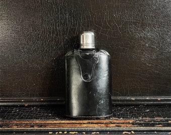 Vintage Stirrup Flask | Travel Flask | Large Hip Flask | Black Leather Case | Textured Leather | England