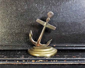 """Vintage Nautical Bookend   Anchor   Copper & Brass   5.5"""""""