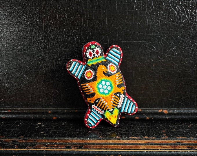 Vintage Huichol Turtle | Beaded Turtle | Huichol Art | Handcrafted | Peyote | Mexico