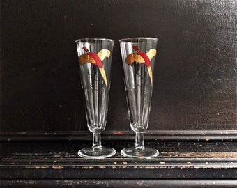 Vintage Pheasant Drinking Glasses | Gold & Red Pheasants | Midcentury | Barware | Pair