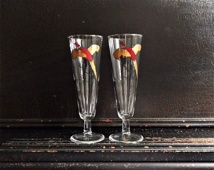 Vintage Pheasant Drinking Glasses | Gold & Red Pheasants | Midcentury | Barware | Pair