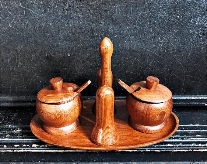 Vintage Condiment Caddy   Teak Condiment Set   Salt & Pepper   Serving Pots