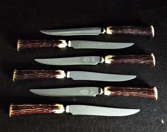 Vintage Steak Knives   Faux Antler Handle   Glo-Hill   Bakelite   Made In Canada   Set Of 6