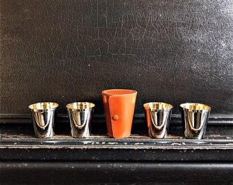 "Vintage Stirrup Cups   Shot Glasses   Leather Case   Travel Cups   Barware   England   2"""