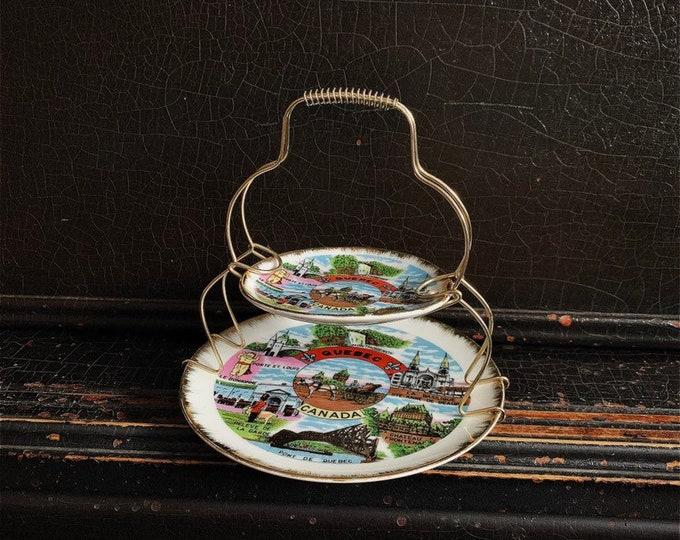 Vintage Two-Tier Decorative Tray   Souvenir Plates   Quebec City   Valet Tray   Canadian Souvenir