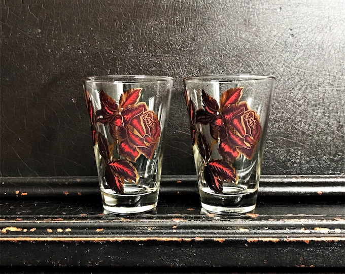 Vintage Rose Drinking Glasses | Gold & Red Roses | Libbey Rock Sharpe | Pair