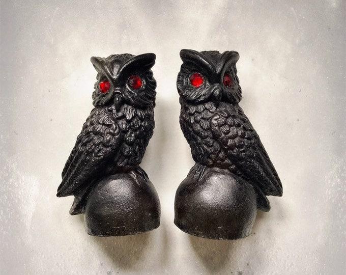 "Vintage Coal Sculptures l Owls l Handcrafted l Rhinestone Eyes l Pair l 4"""