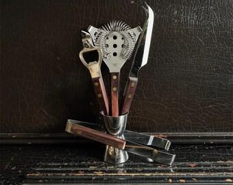 Vintage Barware Set | Barmates | Bar Utensils | Wood Handles