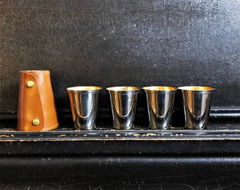 """Vintage Stirrup Cups   Glasses   Leather Case   Travel Cups   Barware   2.5"""""""