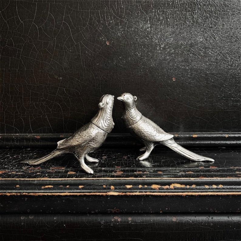Vintage Salt & Pepper Shakers  Viking EP Lead  Pheasants  image 0