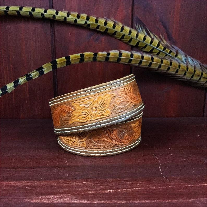 Vintage Leather Belt  Western  Brown Leather  Floral Design image 0