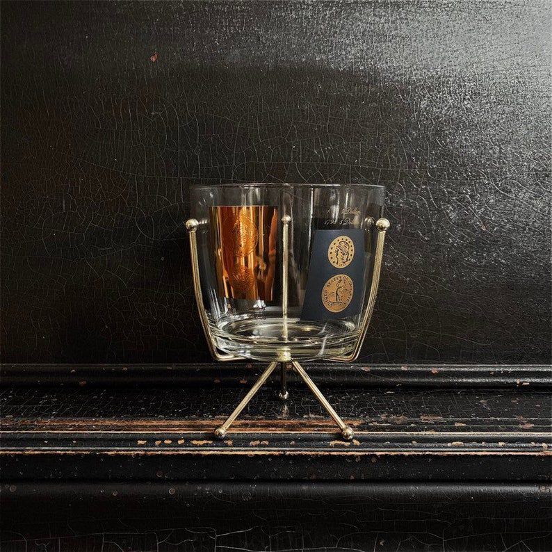 Vintage Ice Bucket With Stand  Gold & Black  Currency  image 0