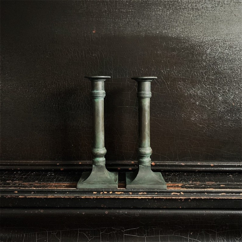 Vintage Candlestick Holders  Candlesticks  Verdigris Finish image 0