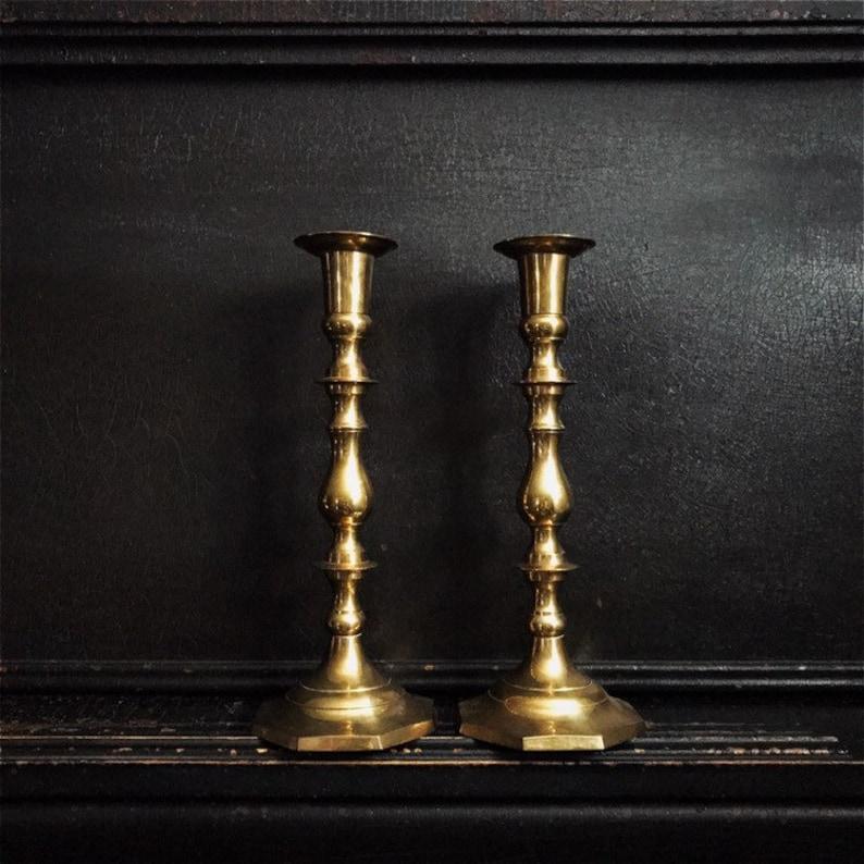 Vintage Candlestick Holders  Candlesticks  Brass  Pair  image 0