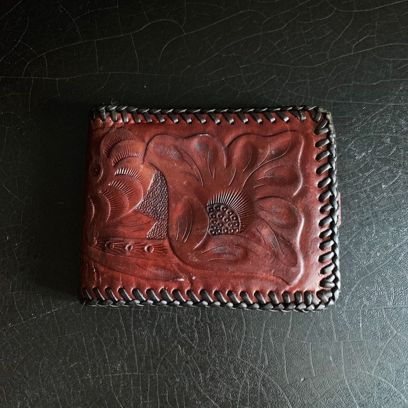 Vintage Leather Wallet  Folk Art  Handcrafted  Hand Tooled image 0