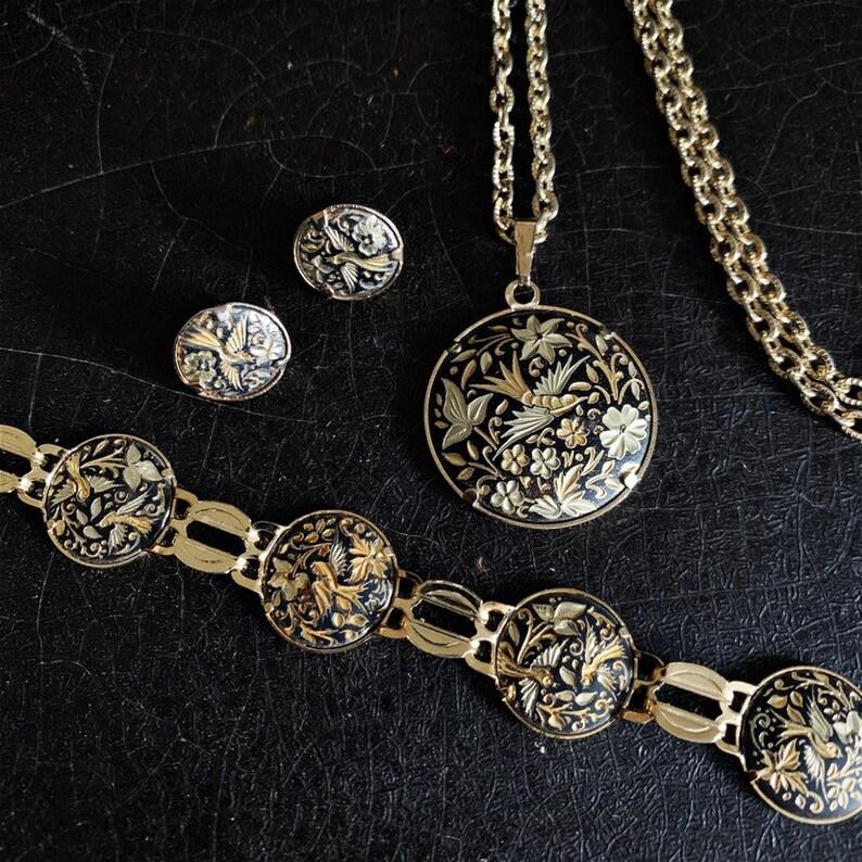 Vintage Damascene Jewelry Set  Birds  Flowers  Gold & Black image 0
