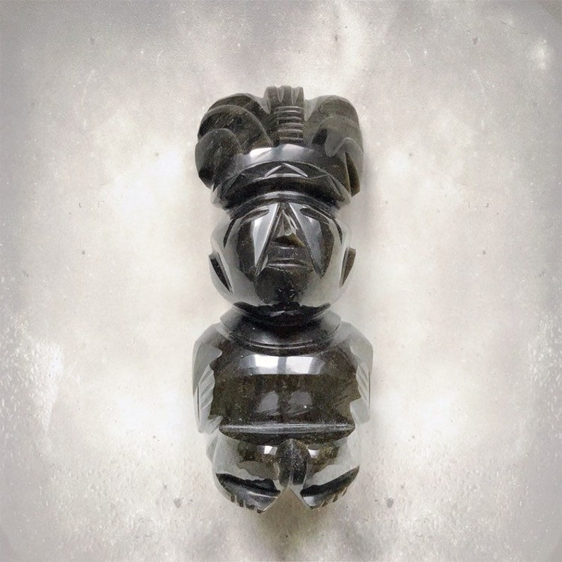 Vintage Aztec Warrior Sculpture  Mayan  Gold Sheen Obsidian image 0