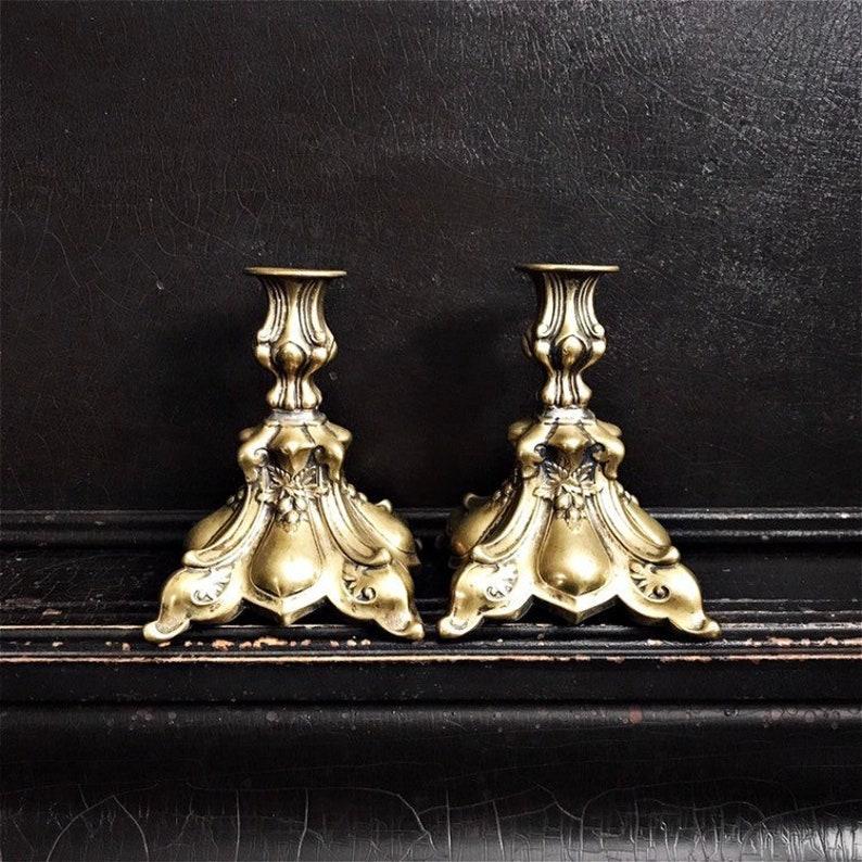 Vintage Candlestick Holders  Candlesticks  Ornate  Baroque image 0