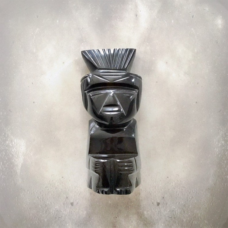 Vintage Aztec Warrior Sculpture  Mayan  Silver Sheen image 0