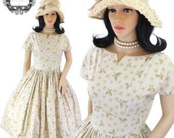 1950 vintage Butterfly Print cotton tea dress