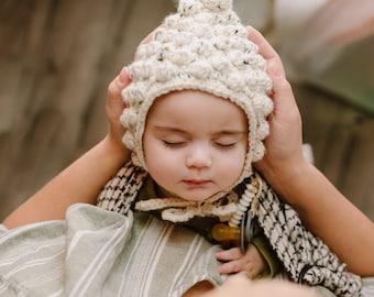 Infant Knit bonnet Pixie hat Elf Hat Baby pixie warm hat Baby Knit Hat Baby boys girls bonnet Soft toddler Beige Knit hats Thanksgiving