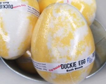 Duck Egg Toy Bath Bomb, Rubber Duckie Surprise Inside, Giant Colorful Fizzy Bath Ball, Fun Kids Stocking Stuffer, Big Bird Bath Fizzy