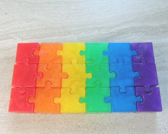 18 Rainbow Piece Puzzle Soap, Jigsaw Theme, Kids Birthday Party Favors, LGBT Inspired, Puzzle Lover Gifts, Creative Glycerin (4.5 oz)