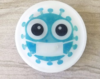 Anti-Virus Soap, Hand Washing, Anti-Bacterial, Germ Blaster Gift, Unique Party Favors, Sanitizing Novelty Soap, Decorative Printed Soap