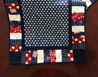 Handmade Quilted Patriotic Table Runner, 4th of July Quilted Table Runner,46 Inch Patriotic 4th of July Table Runner,Navy Stars Table Runner
