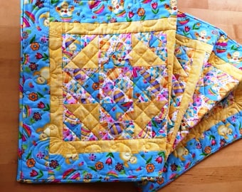Handmade and Quilted Easter Table Runner, Easter Centerpiece Runner, Small Quilted Easter Table Runner, Easter Egg Runner,Aqua Easter Runner