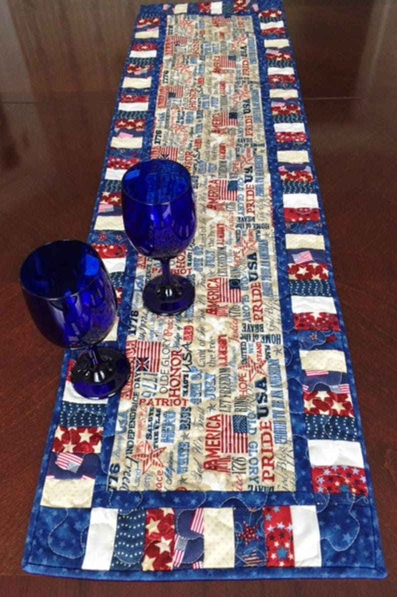 Stupendous 46 Inch Patriotic Table Runner Quilted 4Th Of July Table Runner Patriotic Decor Handmade Americana Table Runner 4Th Of July Decor Home Interior And Landscaping Eliaenasavecom