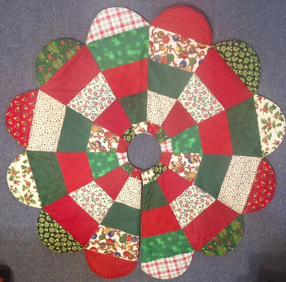 Large Quilted Christmas Tree Skirt Patchwork Tree Skirt Tree Etsy