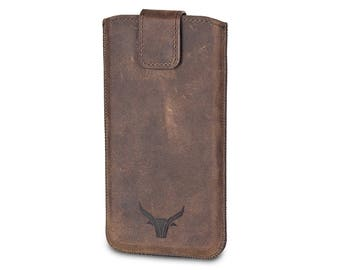 GAZZI Apple iPhone 8 / iPhone 7 / iPhone 6s Case Leather Sleeve Pouch - USED-LOOK Vintage Brown