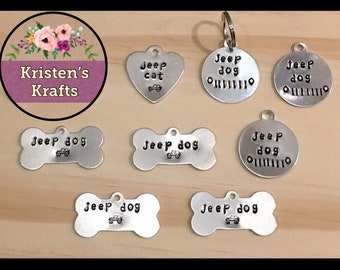 Jeep Dog Tag Collar Pup Lover Gift Handstamped Cat