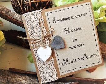 Hochzeitseinladung Kraftpapier Etsy