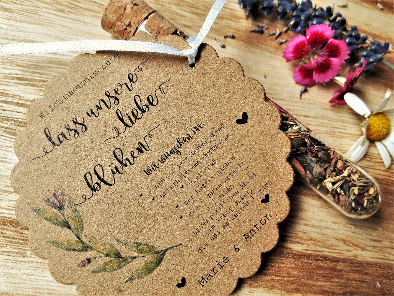 70x Gastgeschenk Hochzeit Blumensamen Vintage Reagenzglas Weiss Weiss