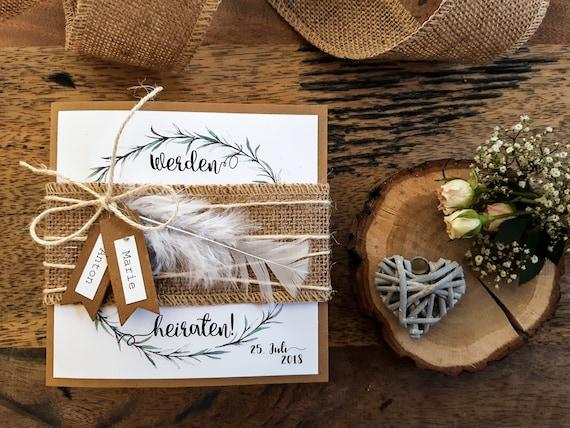 Note Hochzeit Boho Wedding Invitation Invitation Card Etsy