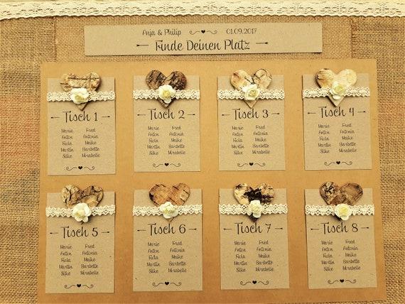 Tischplan Gasteliste Hochzeit Vintage Tischnummern Gasteliste Etsy