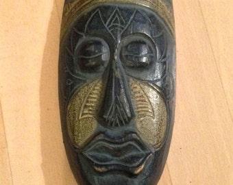 Masque indonésien sculpté, décoration murale, art ethnique