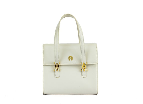 German vintage white mini handbag / Aigner handbag