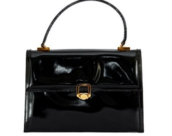 Early 1980s Gucci black patent leather handbag