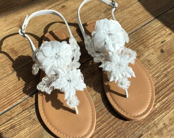 223f1d54edf Ivory Wedding Sandals With Flowers   Lace Sandals Ivory Bridal Sandals  Destination Wedding Sandals Beach Wedding Sandals Beach Wedding Shoes