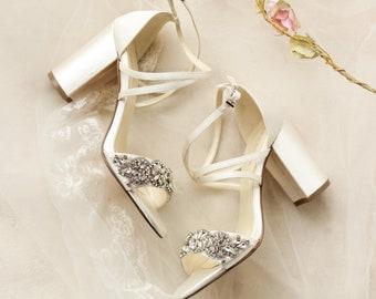 Girls Butterfly Glitter Party Shoes T-Bar Bridal Wedding Block Heels Bridesmaids