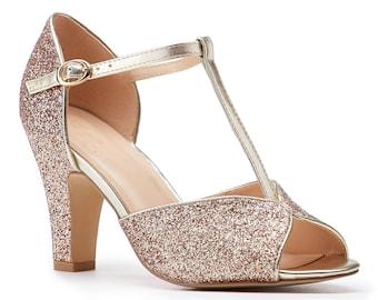 40619635fc Champagne Glitter Vintage Inspired T Bar Wedding Bridal Peep Toe Mid Block  Heel Sandals Shoes