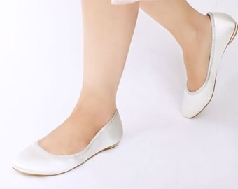 a17c7733c39 Women s Ivory Satin With Silver Trim Round Toe Flat Wedding Bridal Shoes