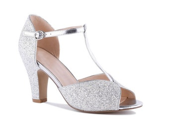 e58db317c797 Silver Glitter Vintage Inspired T Bar Wedding Bridal Peep Toe Mid Block Heel  Sandals Shoes