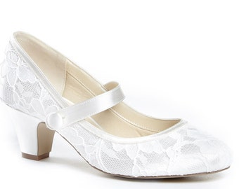 dc027df847e Low Heel Satin   Lace Vintage Inspired Dyeable Mary Jane Wedding Bridal Low  Heel Shoes