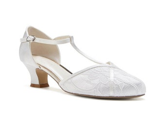 225ae2907a6 Satin   Lace Vintage Inspired T Bar Wedding Bridal Peep Toe Low Heel  Dyeable Sandals Shoes