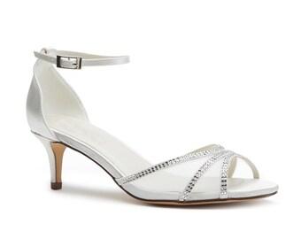 Satin /'Zest/' Mid Kitten Heel Peep Toe Ivory Wedding//Bridal Shoes 3 5 7