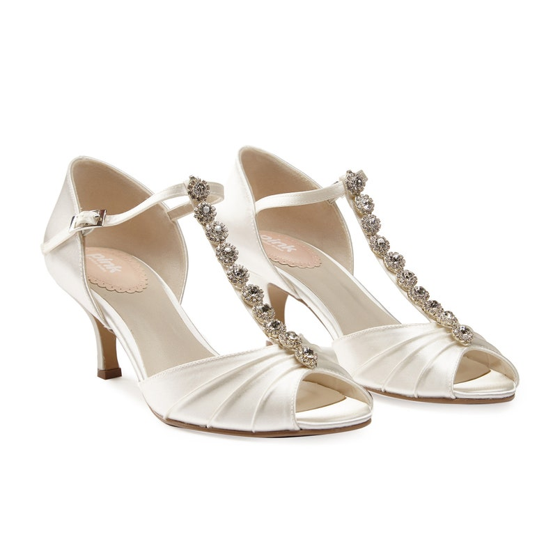 f316e16098a Satin Vintage Inspired Diamante T Bar Wedding Bridal Peep Toe